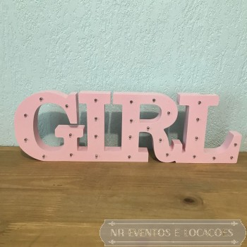 Girl - Placa Luminosa 48cm (L) x 15cm (A) MDF Rosa