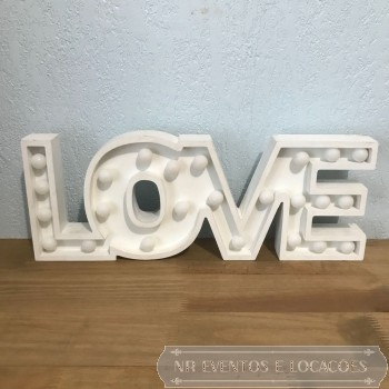 Love Branca - Placa luminosa 47cm (C) x 18cm (A) MDF
