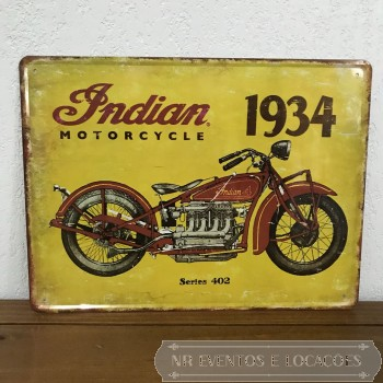 Moto - Placa Amarela Indian 1934 - 30cm (A) x 40cm (L) Metal