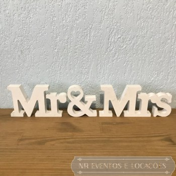 Mr & MRS - 43cm (L) x 8.5cm (A) MDF Branco